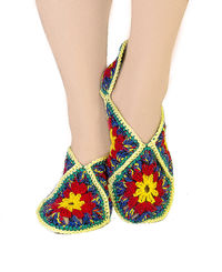 Winter crochet rainbow house slippers, as natural Christmas gift for women. Granny square shoes. Slippers size 8 9 10 $35.00