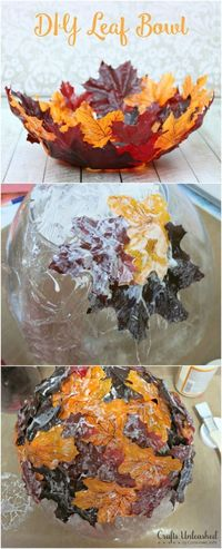 DIY a decorative leaf bowl to serve fall snacks from.