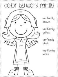 Thanksgiving Color By Word Family {Freebie}