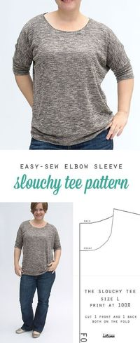 Find a free sewing pattern for this easy slouchy women's tee in size large. Full tutorial for the elbow length dolman sleeve tee included.