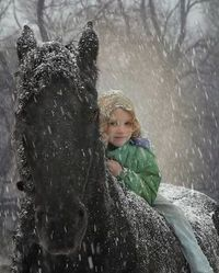 I can totally imagine this...the loud quiet of a heavy snow and the sound and feel of the horse...lovely