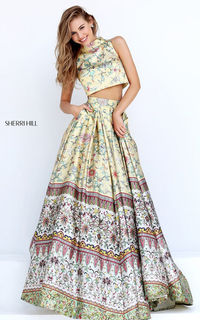 Sherri Hill 50783 Two Piece Printed Floral Long Prom Dress