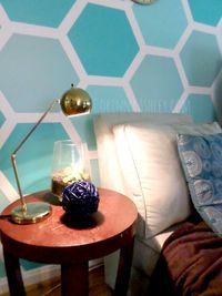 How to Paint an Ombre Hexagon Accent Wall | For My Love Of featured on Remodelaholic.com #accentwall #hexagon #paint