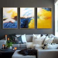 3 piece Wall Art Framed painting mustard navy blue Abstract acrylic paintings on canvas Original extra Large set of 3 Cloud Art $163.53