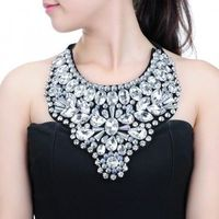 Fashion Women's Rope Chain Silver Crystal Glass Acrylic Pendant Bib Necklace Jewelry