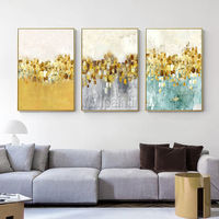3 pieces Framed wall art Gold leaf abstract floral paintings on canvas Abstract acrylic set of 3 wall art mustard painting large wall art $163.53