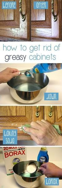 How to Clean Grease From Kitchen Cabinet Doors. Grease stains have a tendency to go unnoticed, allowing them to build up to seemingly impossible proportions. Th