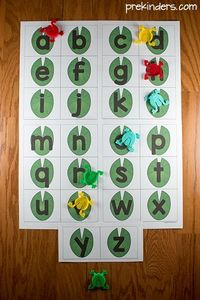 This Jumping Frog Alphabet Game is a fun way to practice letter identification or beginning sounds. Free printable letter mats in uppercase and lowercase.