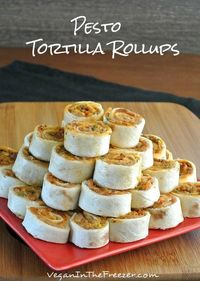 Pesto Tortilla Rollups are to die for. The pestos are very different so their flavors really stand out. Using the beans as a base melds it all together.