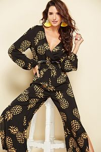 Bohemian V Neck Pineapple Print Long Sleeve Jumpsuit $38.99