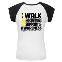 """I Walk For Endometriosis Awareness Cap Sleeve T-Shirts featuring a yellow ribbon for advocacy and the words """"Support Advocate and Cure"""" by Endometriosis T-shirts, Apparel and Gifts"""