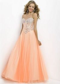 Peach Beaded Corset Style Top Long Tulle Prom Dresses