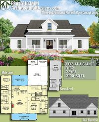 Architectural Designs Farmhouse Plan 51183MM gives you 3+ beds, 2.5+ baths and over 2,100 square feet of heated living space with an optional bonus level (400+ sq. ft.). Ready when you are. Where do YOU want to build? #51183mm #adhouseplans #archi...