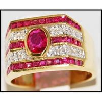 18K Yellow Gold Eternity Diamond and Ruby Ring [R0075]