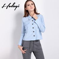 Vogue Simple Polo Collar Pocket One Color Spring Casual 9/10 Sleeves Blouse - Bonny YZOZO Boutique Store