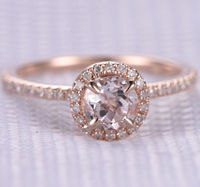 5MM ROUND CUT MORGANITE AND DIAMOND ENGAGEMENT RING 14K ROSE GOLD CLAW PRONGS HALO STACKING RING