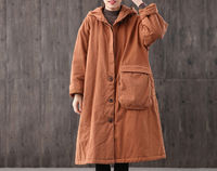 Winter long black loose warm cotton women's casual coat,single-breasted solid hooded retro coat,90S women's windbreaker,Thick warm coat $95.00