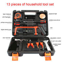13Pcs Auto Repair Tool Set Household Hand Tool Kit Screwdriver Wrench Plier Hammer Wire Cutter Flashlight with Toolbox