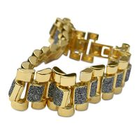 """Gold Plated Multiple Square Shapes Clear Stones Studded 13mm*8.5"""" Bracelet £17.95"""