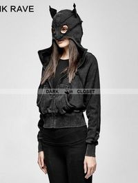 Name: punk rave black gothic punk dark bats loose short hoodie for women  Including: hoodie  Feature 1.100% cotton comfortable knitted hoodie  2.Batwing sleeve loose hoodie design  3.After washing and doing old technology the multiple-piece desig...
