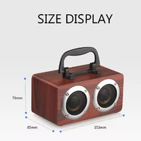 W5B Wooden Wireless bluetooth Speaker Dual Units Stereo Bass TF Card AUX Speaker with Mic