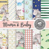 Hippo digital paper, Hippo pattern, Baby Shower, Cute hippo paper, Baby girl paper, Baby boy paper pack, Mother and baby, mamma Mother's Day $7.00