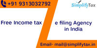 File your income tax returns through Free Income tax e filing agency in India. Simplify Tax is free income tax e filing agency in India with 0% Processing Fee for all income tax related matters in India with our expert finance team. Know more Call: +9...