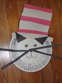 Cat in the Hat: art and craft for preschool, pre-k, kindergarten only cut out the middle of the plate and take their pic with it