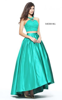 Emerald Sherri Hill 51162 Ultra Chic and Trendy Two Piece Long Prom Dress