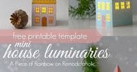 Mini House Luminaries - free printable template from A Piece of Rainbow on
