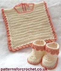 Free baby crochet pattern for Bib and Booties from http://www.patternsforcrochet.co.uk/bib-booties-usa.html #patternsforcrochet #freecrochetpatterns