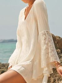 Pretty Sexy Solid Color Half Sleeve Long Sleeve V Neck Beach Vacation Cover-Ups Mini Dress $27.00