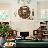 painted brick fireplace, and check out that mirror!