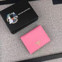 Prada 1M0204 Lettering Logo Leather Wallet In Pink