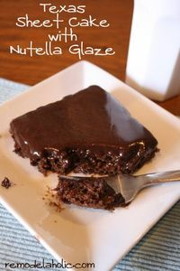 AMAZING Texas Sheet cake with Nutella glaze recipe remodelaholic.com #nutella #sheet cake #recipe #recipe
