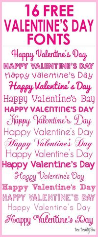 16 free Valentine's Day fonts-- perfect for printables, homemade Valentine card, gift tags, decorations, and more!