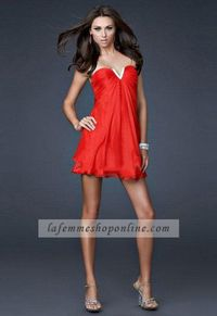 Red Strapless Sweetheart Chiffon Short Mini Length Homecoming Dresses