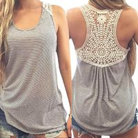 Back Lace Women Grey Patchwork Casual Sleeveless O-Neck Top $27.20