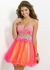 Hot Pink Yellow Strapless Two-tone Beaded A Line Cocktail Dress