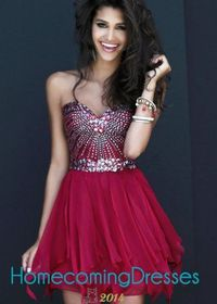 Girls Fashion Jeweled Strapless Chiffon Red Short Homecoming Dresses
