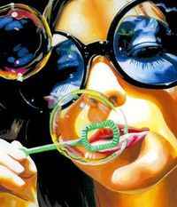 Buy Prints of bubble - SOLD, a Acrylic on Canvas by mars black from United Kingdom. It portrays: Women, relevant to: sunglasses, sunlight, woman, bright, bubble