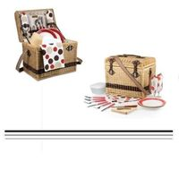 Picnic Basket for Two in Moka Yellowstone dark rattan with premium leatherette