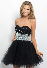 Black Beaded Short Homecoming Dresses Blush 9663