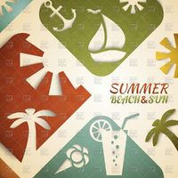 Applique summer background in retro style Royalty Free Vector Clip Art