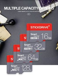 StickDrive Waterproof 8GB 16GB 32GB 64GB 128GB Class 10 High Speed TF Memory Card With Card Adapter For Mobile Phone Tablet GPS Camera