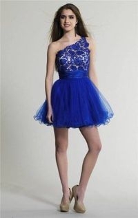 One Shoulder Short Royal Lace Homecoming Dress
