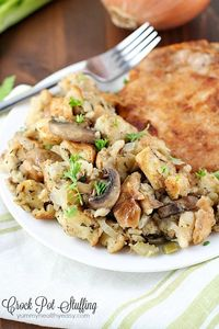 This Crock Pot Stuffing is delicious! So many great spices & flavors going on in this, it really stands out from those other blah stuffing recipes. Plus it's cooked in the slow cooker, so you can put it in hours before dinnertime and not even thin...