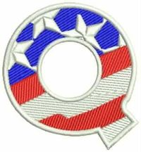 Q Alphabet Letters of US Flag Iron on Small Patch for Biker Vest $5.99