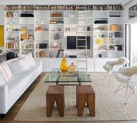 Great shelving. Love ladder, books on top and decorative stuff below