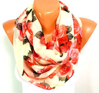 FREE SHIPPING, Rose Printed Scarf, Shawl, Flowered Scarf, Pink Chiffon Scarf, Lightweight Summer Scarf, Mothers Day Gift, Christmas Gift